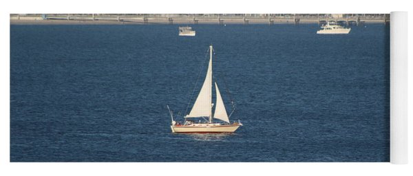 Sailboat On The Pacific In Long Beach Yoga Mat