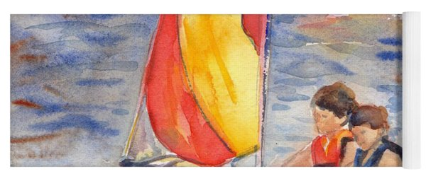 Sailboat Painting In Watercolor Yoga Mat