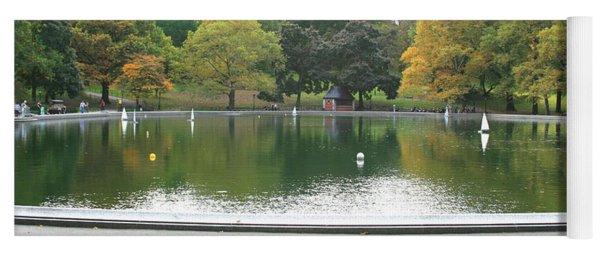Sailboat Pond Panorama Yoga Mat