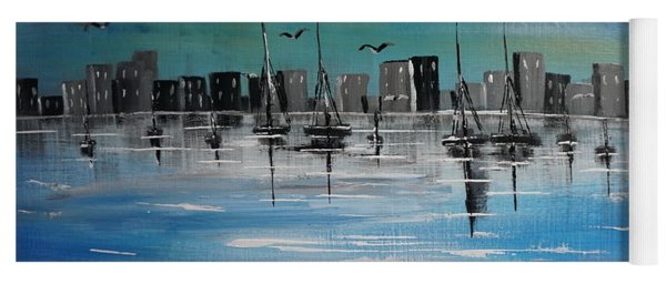 Yoga Mat featuring the painting Sailboats And Cityscape by Jimmy Clark