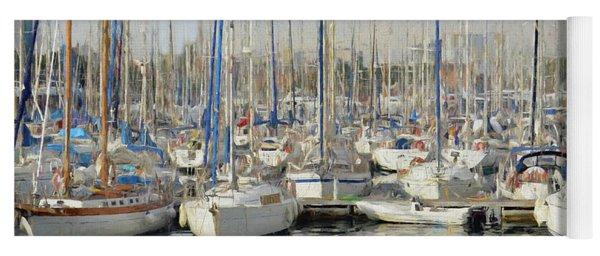 Sailboats At The Dock - Painting Yoga Mat