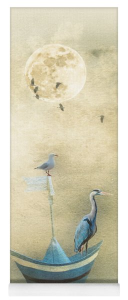 Yoga Mat featuring the painting Sailing By The Moon by Chris Armytage