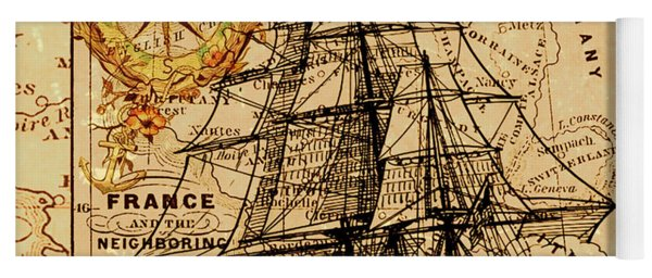 Sailing Ship Map Yoga Mat