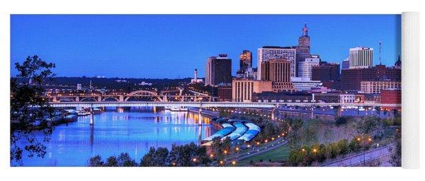 Saint Paul Minnesota Skyline Blue Morning Light Yoga Mat