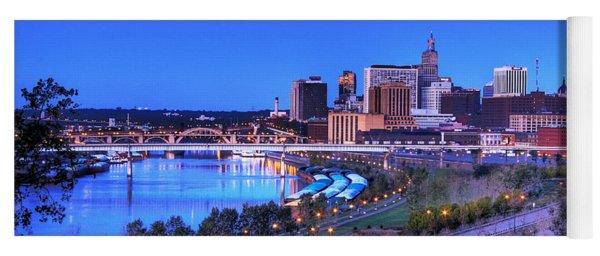 Saint Paul Minnesota Skyline Blue Morning Light Yoga Mat
