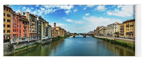 Panoramic View Of Saint Trinity Bridge From Ponte Vecchio In Florence, Italy Yoga Mat