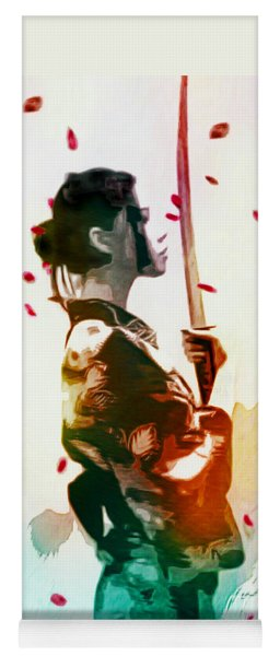 Samurai Girl - Watercolor Painting Yoga Mat
