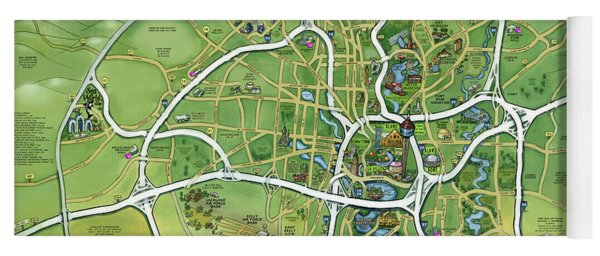 San Antonio Texas Cartoon Map Yoga Mat