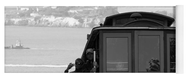San Francisco Cable Car With Alcatraz Yoga Mat