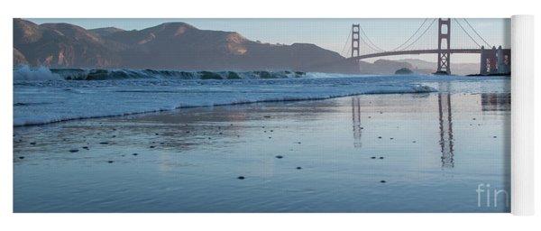 San Francisco Golden Gate Bridge Reflected On Baker's Beach Wet  Yoga Mat