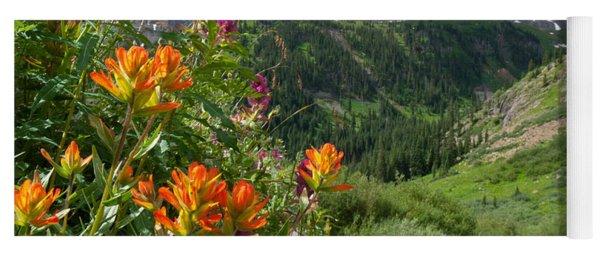 Yoga Mat featuring the photograph San Juans Indian Paintbrush Landscape by Cascade Colors