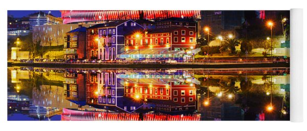 San Mames Stadium At Night With Water Reflections Yoga Mat
