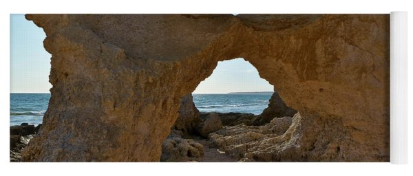 Sandstone Arch In Gale Beach. Algarve Yoga Mat