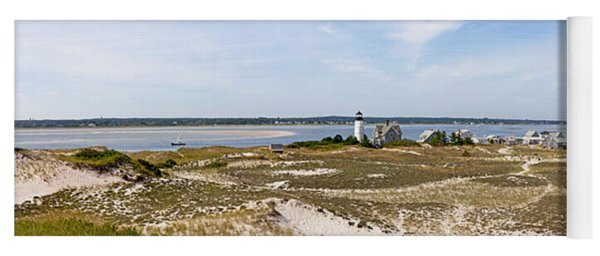 Sandy Neck Lighthouse With Fishing Boat Yoga Mat