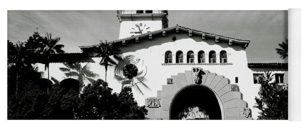 Santa Barbara Courthouse Black And White-by Linda Woods Yoga Mat