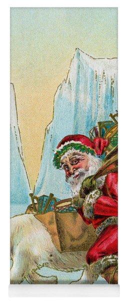 Santa Claus With A Polar Bear At The North Pole Yoga Mat
