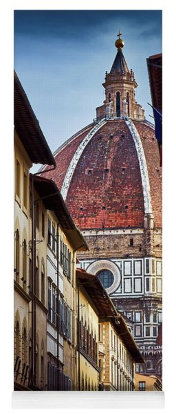 Santa Maria Del Fiore From Via Dei Servi Street In Florence, Italy Yoga Mat