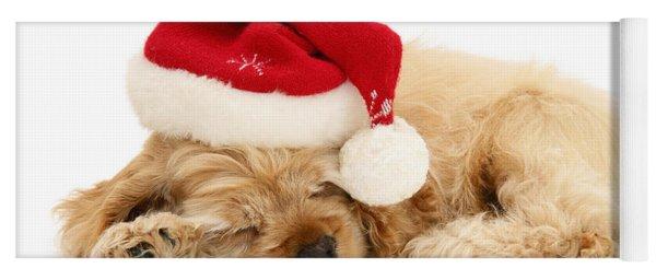 Santa's Sleepy Spaniel Yoga Mat