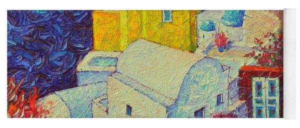 Santorini Oia In Bloom Greece Impressionist Impasto Palette Knife Oil Painting By Ana Maria Edulescu Yoga Mat
