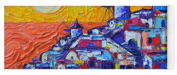 Santorini Oia Sunset 7 Abstract Cityscape Impasto Palette Knife Oil Painting By Ana Maria Edulescu  Yoga Mat