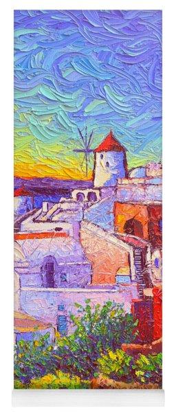 Santorini Oia Sunset Light Modern Impressionism Impasto Palete Knife Oil Painting Ana Maria Edulescu Yoga Mat