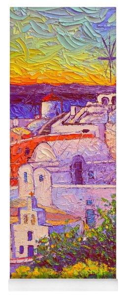 Santorini Oia Windmills Magic Sunset Light Impasto Palette Knife Oil Painting By  Ana Maria Edulescu Yoga Mat