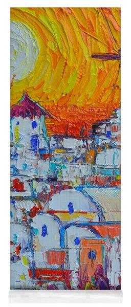 Santorini Oia Windmills Sunset Abstract Impressionist Impasto Knife Oil Painting Ana Maria Edulescu  Yoga Mat