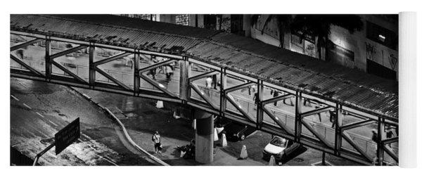 Sao Paulo - Metallic Footbridge At Night Yoga Mat