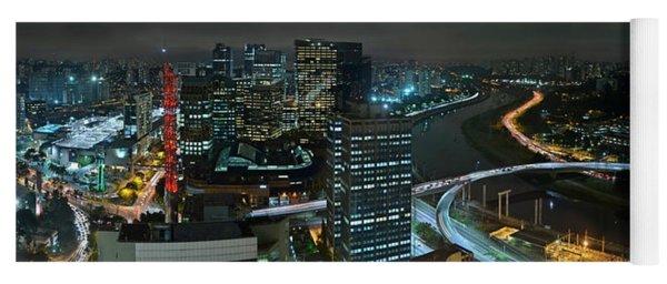 Sao Paulo Skyline Modern Corporate Districts Brooklin Morumbi Chacara Santo Antonio Yoga Mat