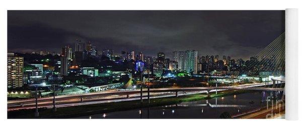 Sao Paulo Skyline - Ponte Estaiada Octavio Frias De Oliveira Wit Yoga Mat