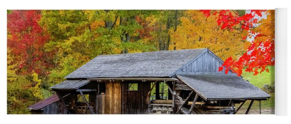 Sawmill Reflection, Autumn In New Hampshire Yoga Mat