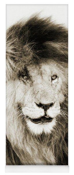 Scar Lion Closeup Square Sepia Yoga Mat
