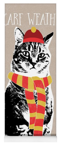 Scarf Weather Cat- Art By Linda Woods Yoga Mat