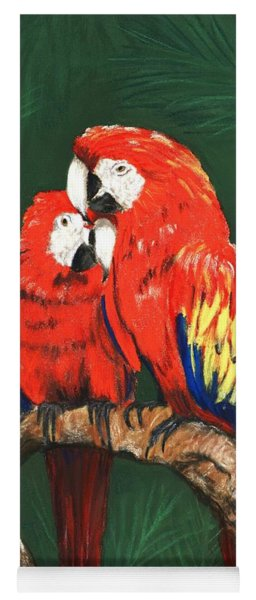Yoga Mat featuring the painting Scarlet Macaws by Anastasiya Malakhova