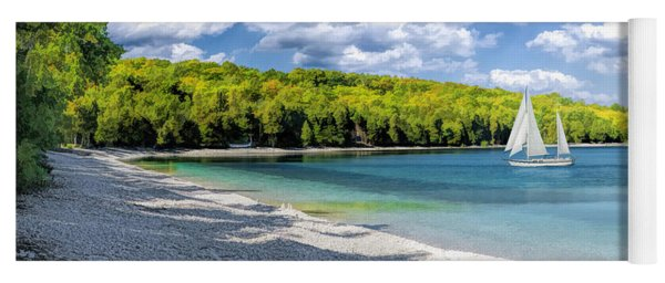 Schoolhouse Beach Panorama On Washington Island Door County Yoga Mat