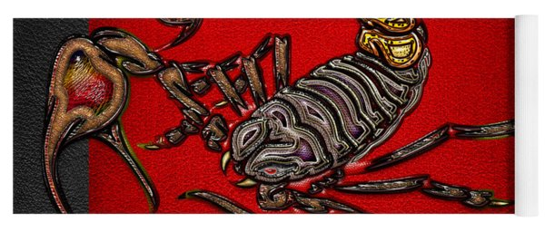 Scorpion On Red And Black  Yoga Mat