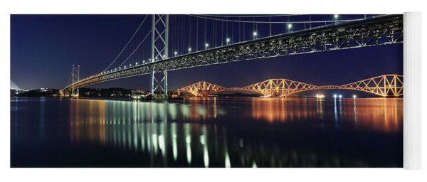 Scottish Steel In Silver And Gold Lights Across The Firth Of Forth At Night Yoga Mat