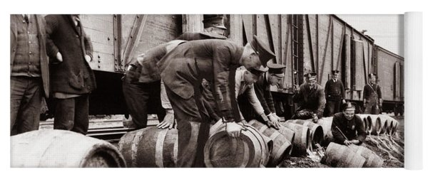 Scranton Police Dumping Beer During Prohibition  Scranton Pa 1920 To 1933 Yoga Mat