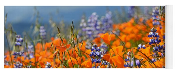 Sea Of California Wildflowers Yoga Mat