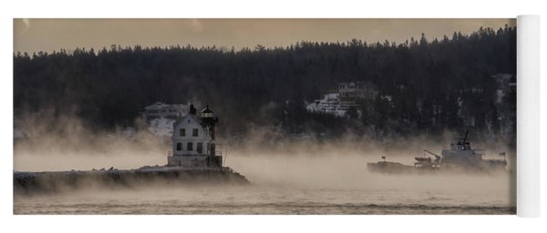Sea Smoke At Rockland Breakwater Light Yoga Mat