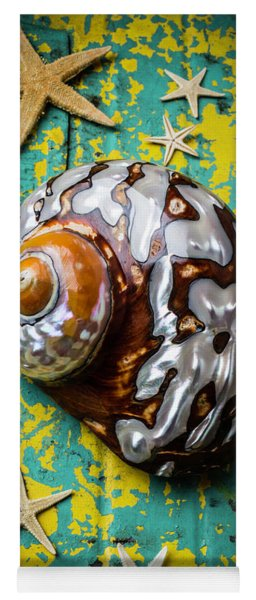 Sea Snail Shell With Stars Yoga Mat
