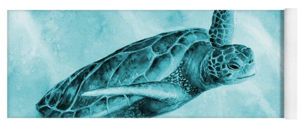 Sea Turtle 2 On Blue Yoga Mat