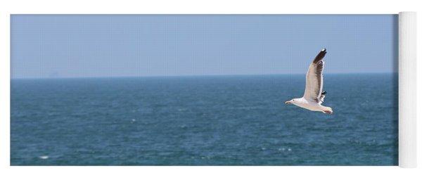 Seagull Flying Over Huntington Beach Yoga Mat
