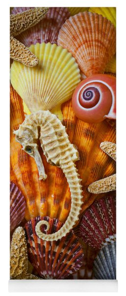 Seahorse And Assorted Sea Shells Yoga Mat