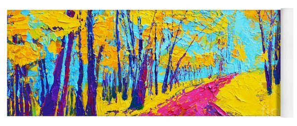 Searching Within 2 Enchanted Forest Series - Modern Impressionist Landscape Painting Palette Knife Yoga Mat