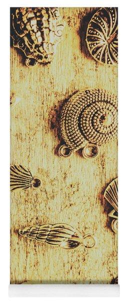 Seashell Shaped Pendants On Wooden Background Yoga Mat