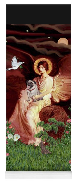 Seated Angel With Pug Yoga Mat