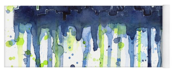 Seattle 12th Man Legion Of Boom Watercolor Yoga Mat