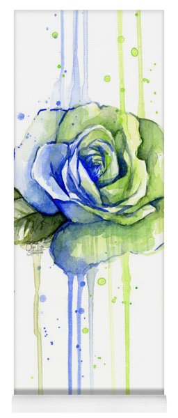 Seattle 12th Man Seahawks Watercolor Rose Yoga Mat