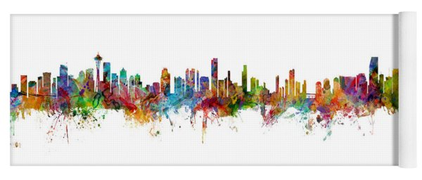 Seattle, Honolulu And Miami Skylines Mashup Yoga Mat
